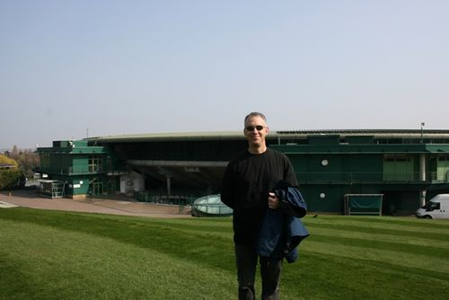 Tom on Henman Hill with Court One behind